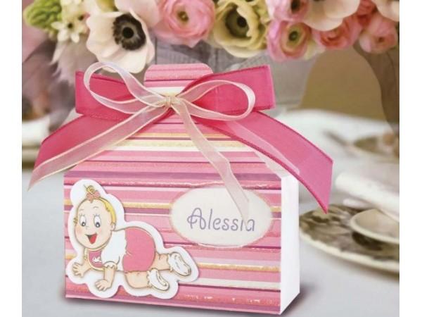 Marturie botez cutiuta bebe roz