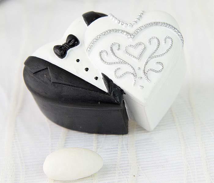 Marturie cutie ceramica mire & mireasa inima